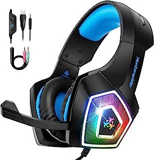 STOON 游戏耳机,适用于 Xbox One PS4 耳机,带降噪麦克风和 LED 灯,耳罩式游戏耳机,带软内存耳罩,适用于 PC、Mac、笔记本电脑、Nintendo Switch