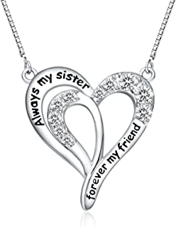 """Holiday Deals Week - FANCYCD""""Always My Sister Forever My Friend"""" Love Heart Necklace, Jewelry for Women & Girls, Birthday ..."""
