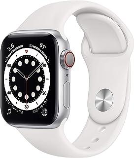 新款 Apple Watch 系列 6 (GPS + 蜂窝,40mm) - 银色铝制外壳带白色运动表带