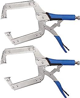 焊接夹,AMTOVL 2 件锁定夹 35.56 厘米木工夹,带可调节螺丝端,橡胶手柄和快速释放杆,适用于木工、对齐、焊接