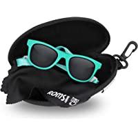 带绑带婴儿太阳镜 – 400防紫外线偏光镜片 – 中性幼儿/儿童。 防碎/软袋和硬壳 - 适合 6 个月的宝宝。 至 3…