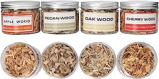 天然木屑,适合吸烟者烧烤和吸烟枪,4 粒木屑,山核桃,橡木,樱桃和苹果约 8 盎司(约 226.8 克)每种都非常适合吸烟牛肉猪肉鸡肉和威士忌