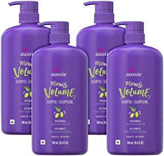 Aussie For Fine Hair 不含防腐剂奇迹浓密洗发水,配紫红色和竹子,4 支装