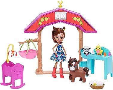 Enchantimals Barnyard 托儿所玩具套装和 Haydie Horse 娃娃和Trotter