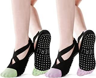 Jierli 女士瑜伽袜 适合普拉提、纯巴、芭蕾舞、赤脚锻炼防滑