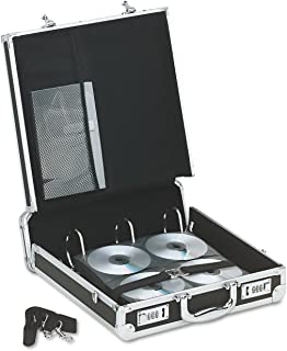 Vaultz Locking Media Binder, 200 CD/DVD Capacity, Black with Chrome Accents, 14 x 4.5 x 12.75 Inches (VZ01076)
