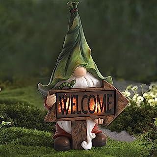 LA JOLIE MUSE 花园小矮人雕像 - 树脂小矮人雕像 带太阳能 LED 灯,户外秋季冬季圣诞节装饰庭院草坪门廊装饰品,装饰礼品