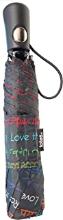 Totes 雨伞,NeverWet 技术,自动打开,43 英寸弧形雨伞,I love the rain print on Wmbrella with Different language