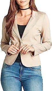 女士单扣长袖 Ponte 外套,带前拉链细节