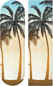 NOT Biekaya 海滩棕榈树 滑板夹带 无气泡滑板夹带 33 英寸 x 9 英寸(约 88.9 厘米 x 23.8 厘米)防滑砂纸长板夹带 易于粘贴滑板夹带