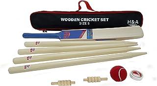 H&A Sports 儿童木制板球套装 尺寸 3 和 5