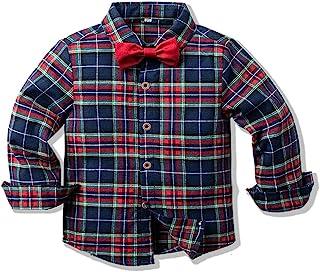 男婴系扣格子 Aloha 衬衫长袖系扣衬衫适合假日