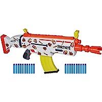 Nerf ortnite AR Durrr Burger电动玩具枪,定制贴纸,20个飞镖,10个飞镖夹——适合年轻人、青…