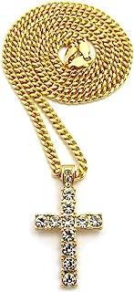 男士金色 托架 十字架 吊灯 卷边 古巴链 45.72 厘米、50.8 厘米、60.96 厘米、76.2 厘米项链