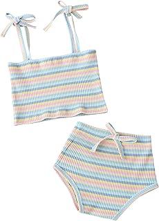 女婴夏季针织服装女童彩虹吊带上衣条纹短裤 2 件套