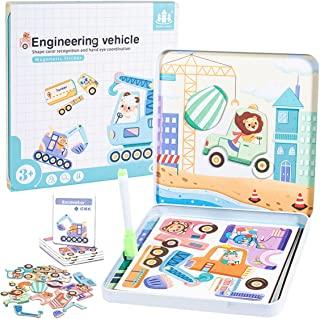 Engineering Vehicle 磁性游戏板套装,幼儿学习磁性动物,*儿童磁铁
