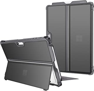 Fintie 硬质手机壳,适用于 Microsoft 微软 Surface Pro 7/ Pro 6/ Pro 5/ Pro LTE,防震对开保护坚固保护套兼容键盘类型键盘+原始支架(霜灰)