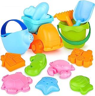 Dreamon 13 件套沙滩玩具,适合幼儿,软材料卡车模具,带网袋,沙子和水上游戏,多色