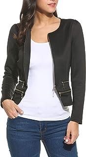 Pinspark 女士工作办公室外套 纯色拉链开衫夹克