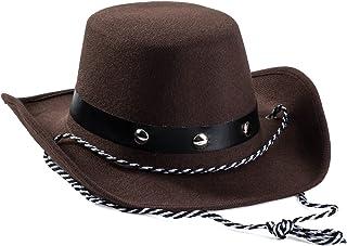 Baby Cowboy 帽子 - 牛仔帽幼儿 - 镶有牛仔帽 - 棕色毛毡牛仔帽 - 有趣的派对帽的牛仔配饰