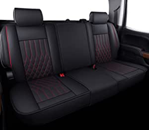 Aierxuan Silverado Sierra 后座套防水皮革,适合 2007-2021 1500/2500 HD / 3500 HD 船员,双人,扩展驾驶室或皮卡车(黑色和红色).....