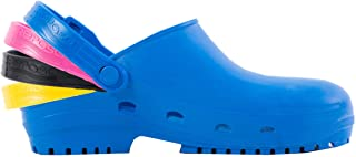 REPOSA MAX Plus 卫生鞋,天然防静电聚合物,封闭,侧孔,解剖内底,3 个鞋带黄色,紫红色,黑色