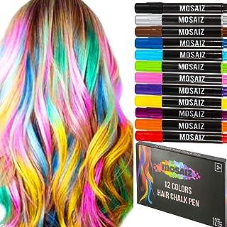 发粉笔 12 种颜色(包括黑色和棕色)儿童临时*水笔,可洗笔,深色或金发,生日礼物创意青少年女孩*配件面漆派对Spa 笔蜡笔套装