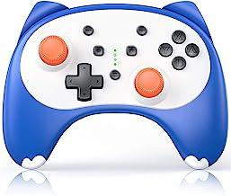 Nintendo Switch/Lite 无线开关 Pro 控制器 - Vivefox Switch 遥控 Joypad 游戏手柄 替代 Nintendo Switch 卡通控制器 带陀螺轴、振动、涡轮、耳机插孔 - 蓝色