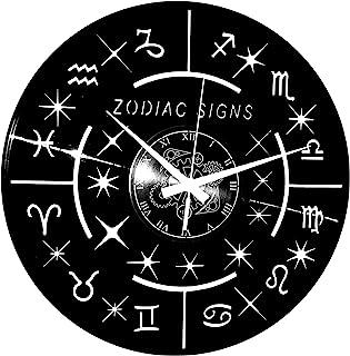 Instant Karma Clocks 乙烯基挂钟即刻业力礼物创意手工制作 - Orofin AFFINITY ASTROLOGY 标志 Zodiac 标志,复古,静音