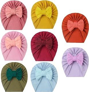 女婴帽子,新生儿女孩帽子,婴儿头巾头巾,蝴蝶结兔帽