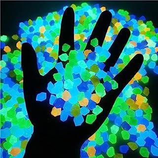 YSISLY 300 件夜光岩石,户外花园发光鹅卵石,灯光和太阳能核心鱼缸,水族箱岩石散装,适用于外院池塘景观走道装饰