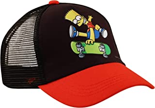 Sesame Street 儿童帽,Bart Simpsons 男生棒球帽,黑色/红色,适合 4-7 岁儿童