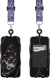 带可调节颈带的 Gear Beast 手机挂绳,适用于 iPhone Galaxy 和大多数智能手机,硅胶手机支架带卡袋和可调节缎面涤纶挂绳LAN-PST25A-CBM-BLK 樱花色