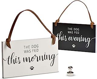 PYROH Dog Feed Reminder - 木制狗狗喂食日程表 - 饲料狗磁铁标志 - 你喂食狗狗 - AM/PM 指示器替换狗狗喂食表