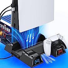 OIVO PS5 冷却支架带充电站和吸散热风扇,双控制器充电器站,必须有配件适用于 Playstation 5 PS5 控制台、充电底座和 12 个游戏插槽