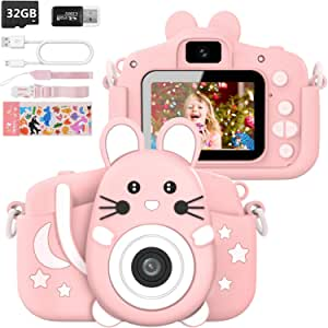 HANGRUI 儿童相机适用于 3-10 岁男孩和女孩,20.0MP 数码双摄像头,带 2.0 英寸 IPS 屏幕 1080P 视频摄像机防掉落儿童卡通自拍相机玩具礼品赠送 32GB SD 卡