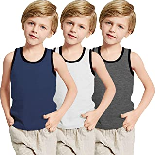 Boyoo 大男童青少年 3 件装背心无袖 Y 型背部棉 T 恤休闲吸湿排汗内衣