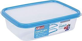 Décor Match-ups Basics Oblong | 食品储存储藏盒 | 非常适合准备餐 | 不含 BPA | 洗碗机、冰箱和微波炉*,透明 / 蓝色,2L