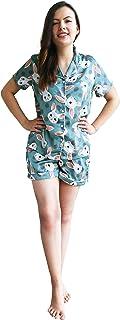 女式可爱丝绸睡衣短袖套装 robin 蓝 X-Small
