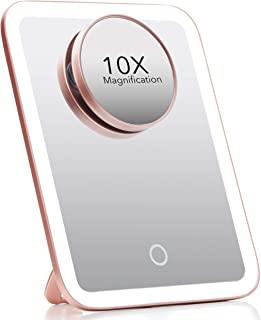 Fancii 便携式 LED 化妆镜,3 种可调节灯光设置,1 个大号镜子和可拆卸 10 倍放大镜 - 无绳镜子,适合旅行,360° 支架 - Aura Go(玫瑰金)
