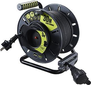 Masterplug Pro-XT 反向电缆鼓,带防风雨Schuko延长器,30 + 3米橡胶电缆
