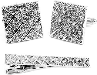 银色水晶方形时尚袖扣搭配领带夹