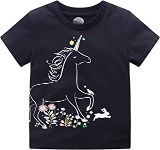 女婴幼儿儿童可爱独角兽图案柔软短袖圆领扎染 T 恤上衣 T 恤夏季运动衫