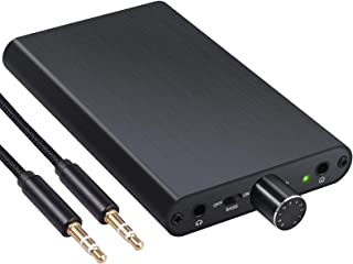 eSynic HiFi 耳机放大器 便携式放大器 16-300Ω 阻抗 3.5 毫米音频可充电耳机放大器 带增益开关和低音增强器 适用于 MP3/4 手机电脑