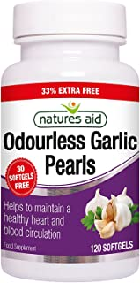 Natures Aid Odourless Garlic Pearls, 120 Softgel Capsules (One-a-Day, to Help Maintain a Healthy Heart and Blood Circulati...