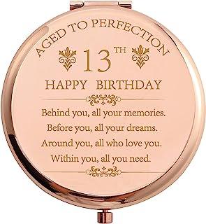 13 岁生日礼物 不锈钢玫瑰金 小巧口袋 旅行化妆镜 13 岁 灵感礼物 带礼盒