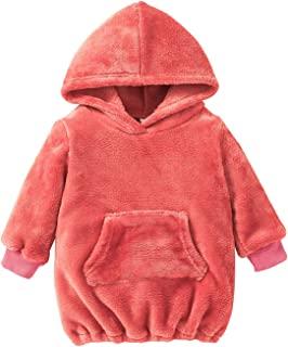 婴儿幼儿女童衣服羊毛长袖连帽套头衫连帽衫运动衫带口袋
