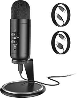 USB 麦克风,游戏电脑麦克风,便携式麦克风,电脑,USB C 手机,实时监控,即插即用,双音量控制,播客 YouTube 视频,语音录音