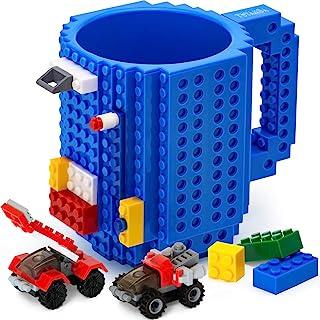 TOYAMBA Build-on Brick 马克杯 - 453.59 ml 不含 BPA 趣味咖啡杯 3 件装积木,儿童趣味杯 - 创意积木马克杯 DIY 礼物创意 蓝色 16盎司 NCS-TMB-007