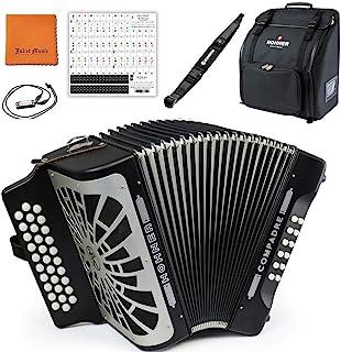 Hohner COFB Compadre FBbEb 手风琴,黑色和银色格栅套装,配有 Hohner 包、表带、迷你口琴、朱丽叶音乐抛光布和钢琴钥匙贴纸